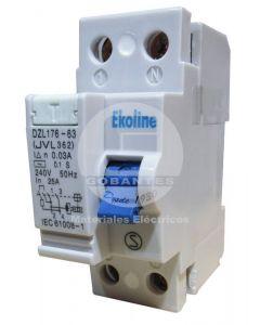 Interruptor Diferencial 2 x 25A 30MA Ekoline