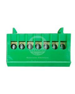 Regleta Distribución 7P Verde Cubierta Plástico Ekoline