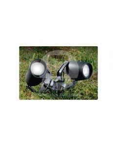 Estacas (2) Negra Vidrio Opaco C/2 Amp. LED GU-10 3.5W Luz Cálida Fumagalli