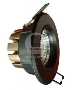 Foco Redondo Empotrado Led P/Techo Ajustable 7W Luz Cálida Negro Ekoline
